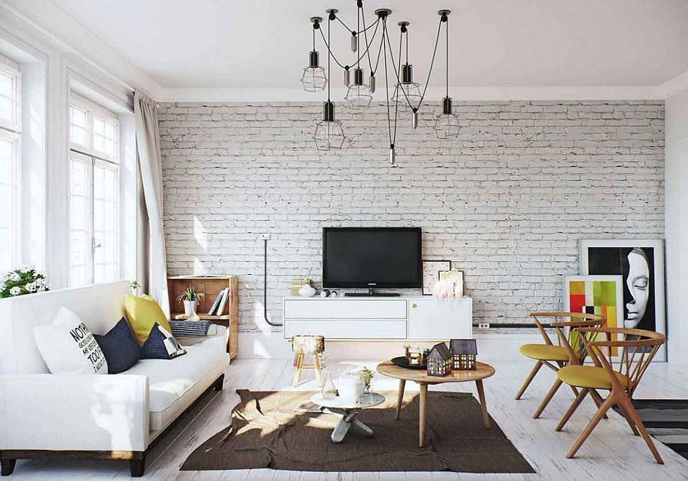 Brick-accent-wall-in-the-Scandinavian-living-room | Swedes ...